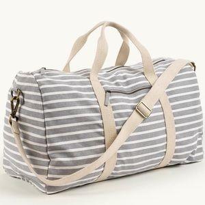 thirty-one • grey canvas stripe duffel bag